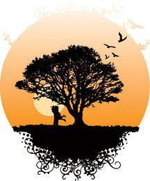 Árbol romántico paisaje del mundo