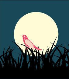 Fondo de pasto paisaje pájaro a medianoche