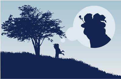 Par, abraço, árvore, paisagem, silueta