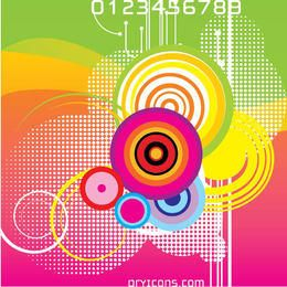 Colorful Circles Waves Abstract Background