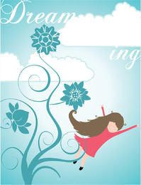 Girl Dreaming Cartoon Background