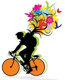 Biker que lleva el paquete de la naturaleza