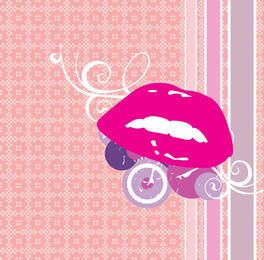 Lips Circles Abstract Ornament Background