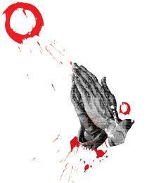 Esboço de grunge orando mãos