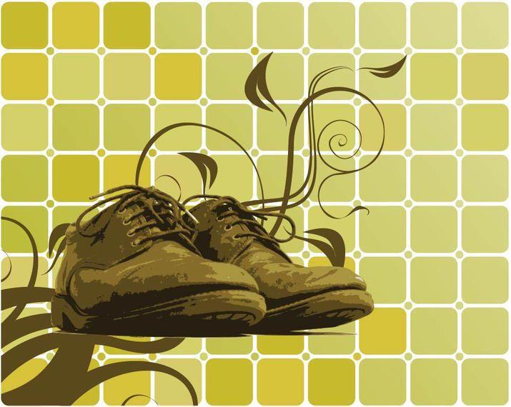 Zapatos remolinos en el fondo cúbico