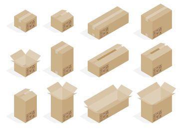 Conjunto de cajas de cartón 3D