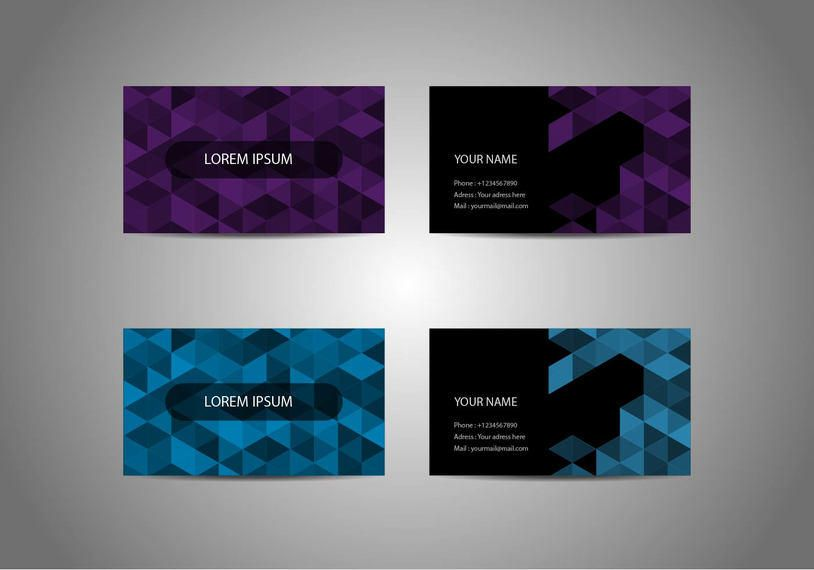 Origami Pixel Business Cards Vector Download