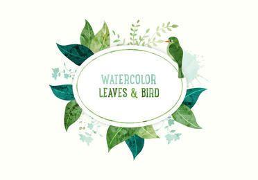 Leaves Bird White Circle Banner