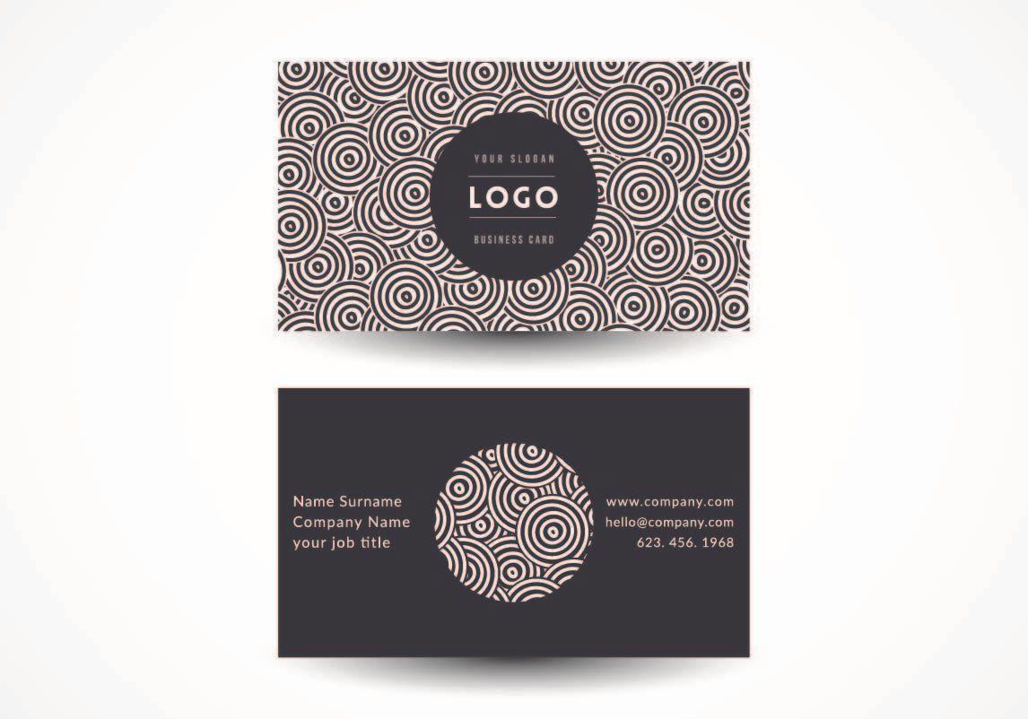 Black White Circles Business Card - Vector download