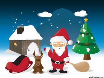 Cartoon Christmas Scene Illustration