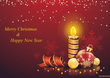 Tarjeta de Navidad y año nuevo rojizo