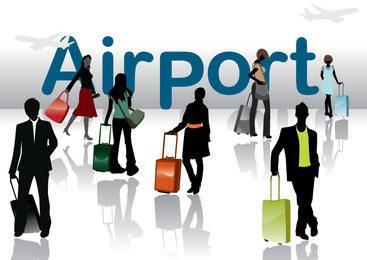Gente de viaje de silueta en el aeropuerto