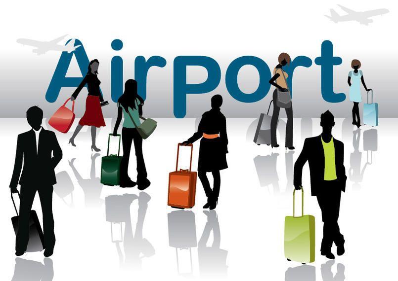 Pessoas de viagens de silhueta no aeroporto