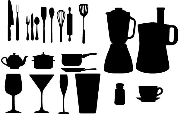 Free Vector Kitchen Appliances Silhouettes - Vector download