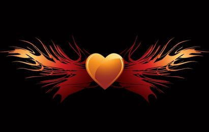 EPS vector flaming heart wings