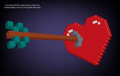 Coração de pixel 3D e seta