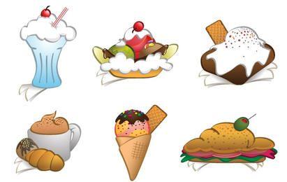 6 Free Vector Dessert Cliparts nad Sandwich
