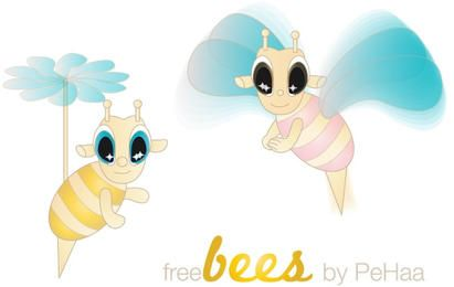 Personagens de vetor de abelhas grátis