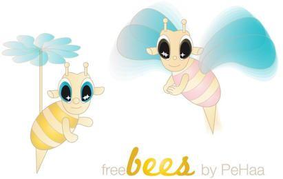 Personajes de vectores de abejas gratis