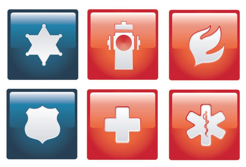 Flat Emergency Sign Pack on Red Squares