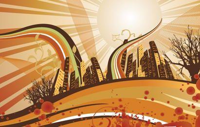 Nascer do sol abstrato da cidade