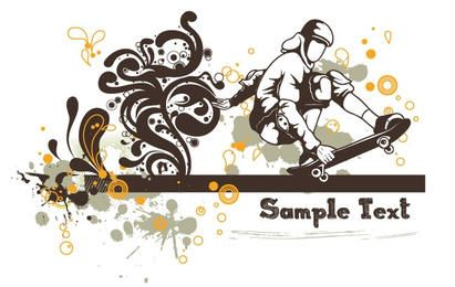 Floral vector background - skater