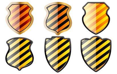 Conjunto gratuito de escudos em listras pretas e amarelas