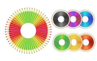 Colorful Pencils Circle