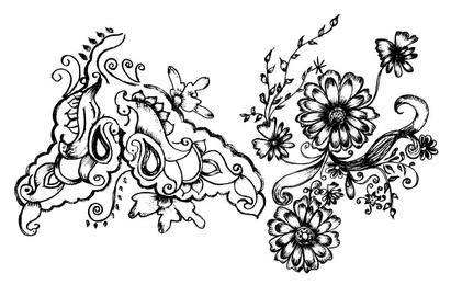 Sketchy Floral Decorative Elements