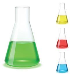 Frasco vidrioso de química y ciencia