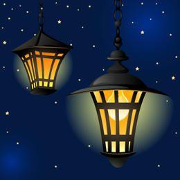 Lanterna Vintage brilhante na noite