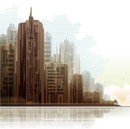 Abstract Linen Textured City Skyscrapers