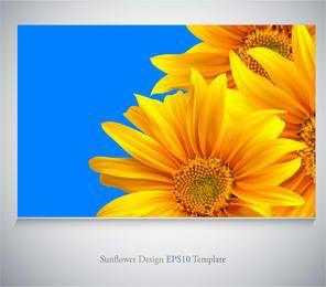 Realistische Sonnenblumen auf blauem Hintergrund