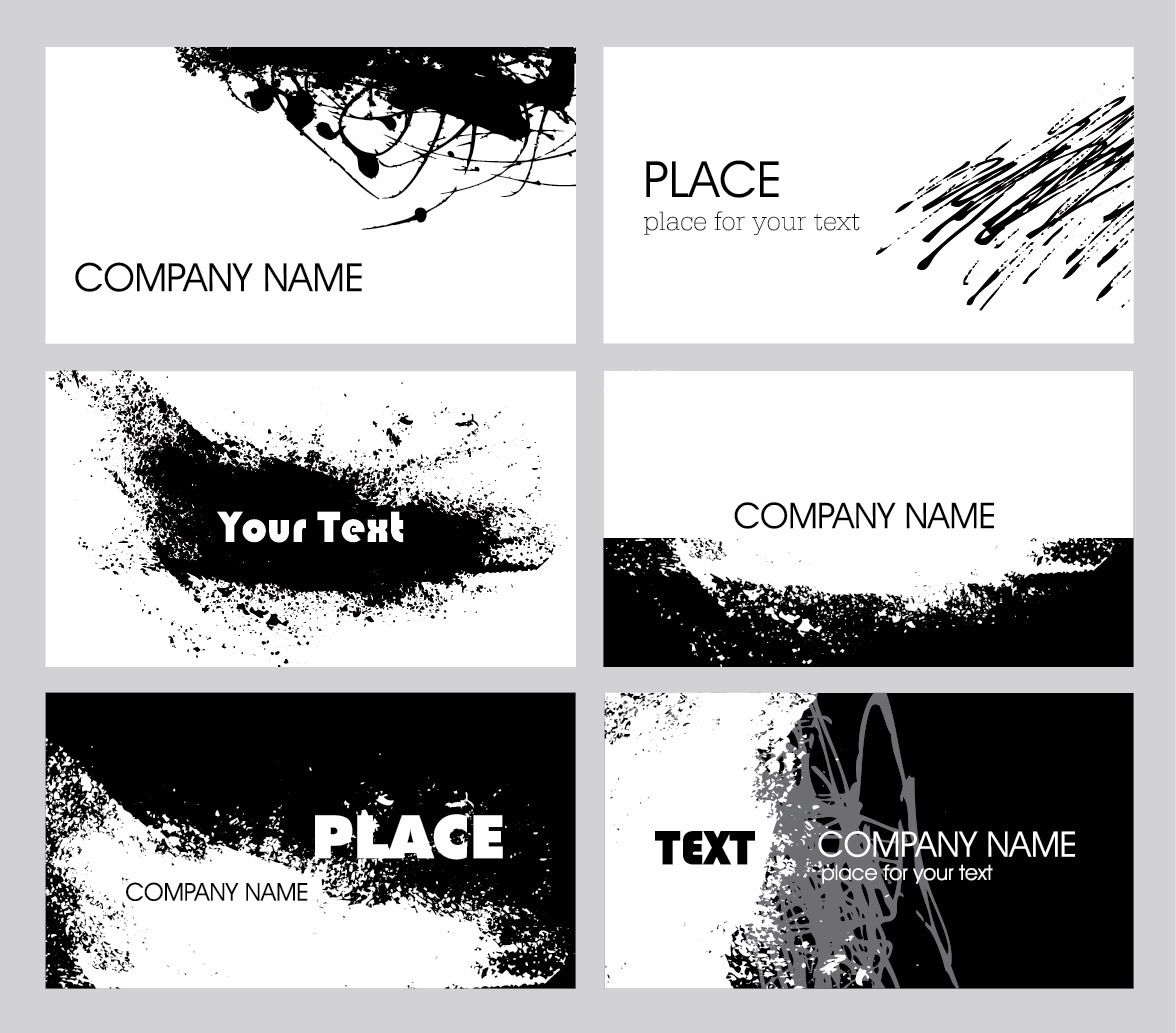 Black white grungy business card pack vector download by vector goods svg reheart Image collections