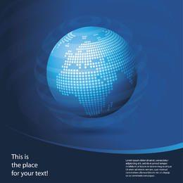 Fundo de negócios globo azul com curva