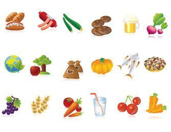 Paquete de iconos de comida y bebida funky