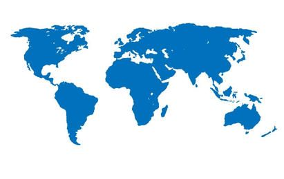 Mapa del mundo aparte azul
