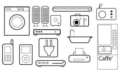 Appliances 2D Line Art Set