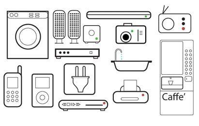 Conjunto de arte de linha 2D de aparelhos