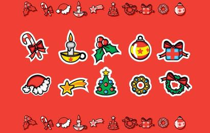 Conjunto de iconos de Navidad lindo