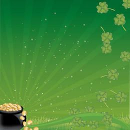 Pot of Gold Coins with Clovers