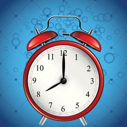 Glossy Alarm Clock with Blue Bubble Background