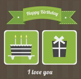 Flat Green Retro Birthday Card