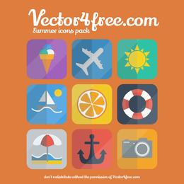Flat Summer Icon Set on Rounded Corner Square