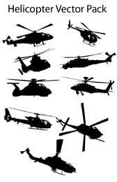 Verschiedene Silhouette Helicopter Pack