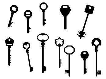Silhouette antike Schlüsselsatz
