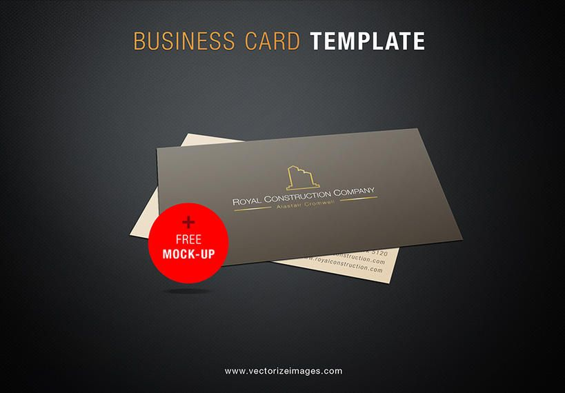 Construction Company Business Card Mockup Vector Download - Construction business card templates download free