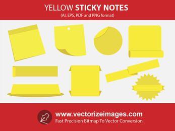 Notas adhesivas y pancartas con arrugas