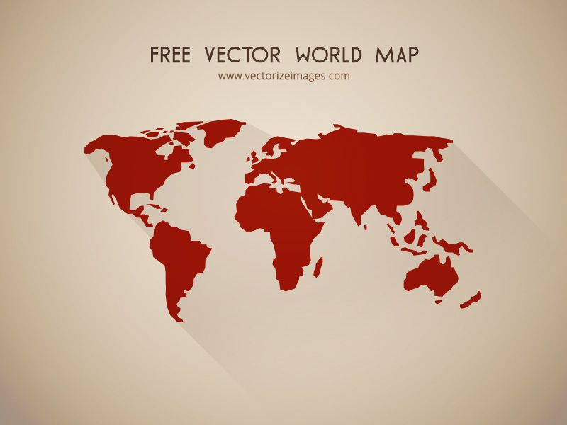 Flat Detailed Shape World Map Vector Download