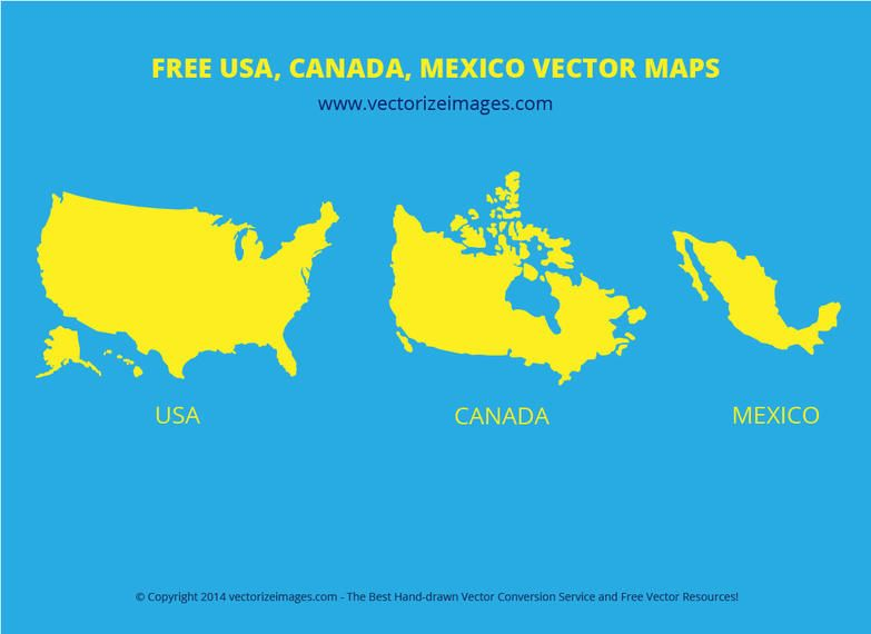 USA Canada Mexican Flat Map Vector Download - Map usa and canada